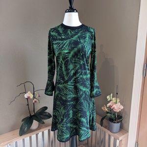 Michael Kors palm print long sleeve dress